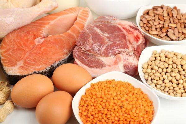Các loại thịt heo/ bò/ gà, cá, trứng, và đậu chứa lượng lớn protein