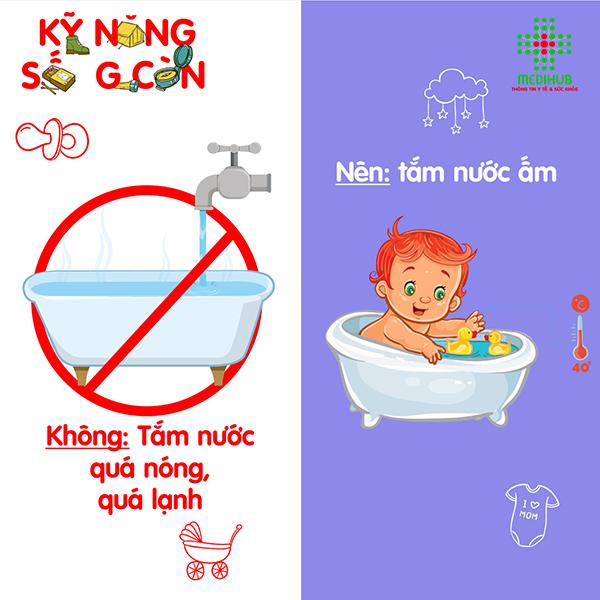 Sử dụng nhiệt kế hoặc khuỷu tay để thử nhiệt độ nước. Nhiệt độ nước thích hợp khi tắm cho trẻ sơ sinh nên vào khoảng 32 độ C. Nước quá nóng có thể khiến bé bị bỏng, còn quá lạnh có thể khiến bé mắc các bệnh về đường hô hấp.  Mẹ cần lưu ý, chỉ đo nhiệt độ nước tắm khi nước trong chậu đã đầy, tránh đo dưới vòi nước đang chảy vì có thể làm thay đổi nhiệt độ.